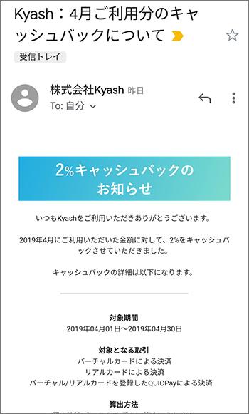 Kyash:4月ご利用分のキャッシュバックについて
