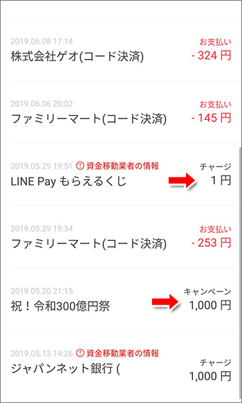 LINE Pay残高履歴