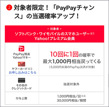 対象者限定!PayPayチャンスの当選確率アップ!